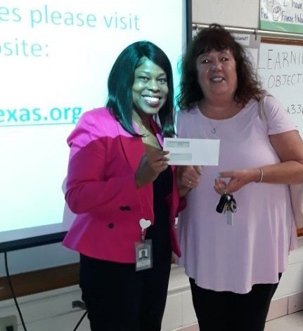 Donation check for school supplies